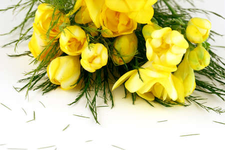 leafs: Spring yellow flowers bouquet with green leafs