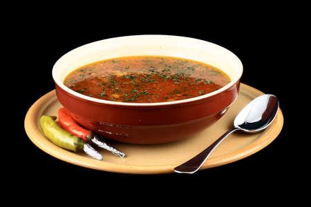Primo piano di un piatto di zuppa di manzo e cipolle Archivio Fotografico