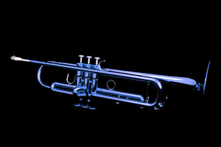 Blue lacquer trumpet with mouthpiece on black Stock Photo
