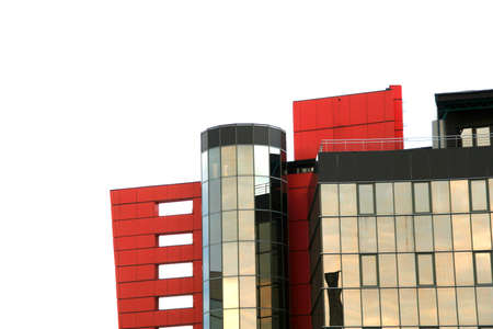 modern glass building along the blue sky with clouds Archivio Fotografico