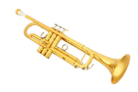 brass: gold lacquer trumpet with mouthpiece isolated on white