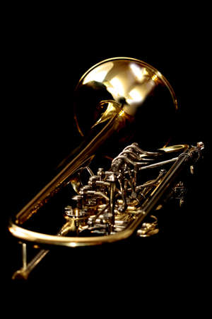 Gold lacquer concert trumpet isolated on black