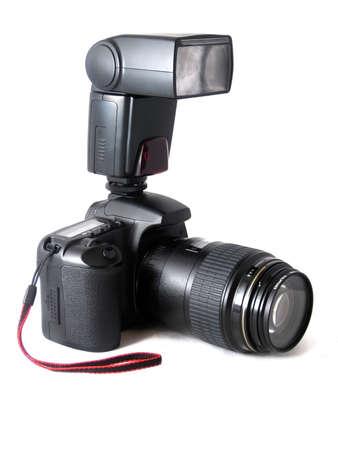 dslr: Digital dslr photo camera isolated on white Stock Photo
