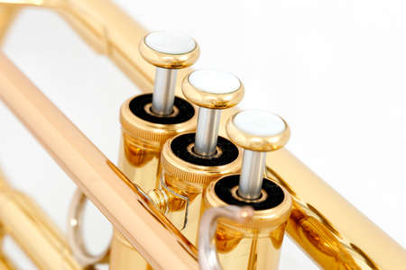 lacquer: Gold lacquer trumpet valves on white