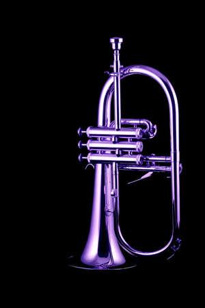 flugelhorn: Silver fluegelhorn with mouthpiece isolated on black