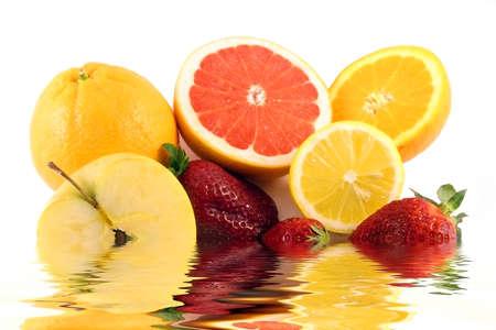 vitamine: Colourful tropical fruits desert concept