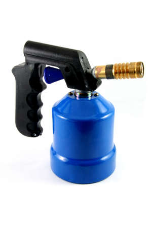 blowtorch: Used blowtorch gaslight with blue gas tank isolated on white Stock Photo