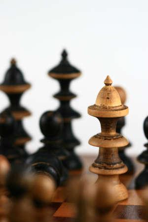 confrontation: Chess scene on white  symbol of confrontation