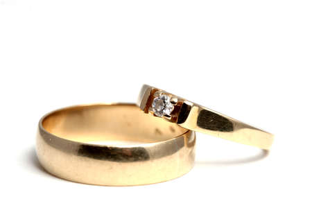 weddingrings: used wedding rings posing in a natural manner Stock Photo