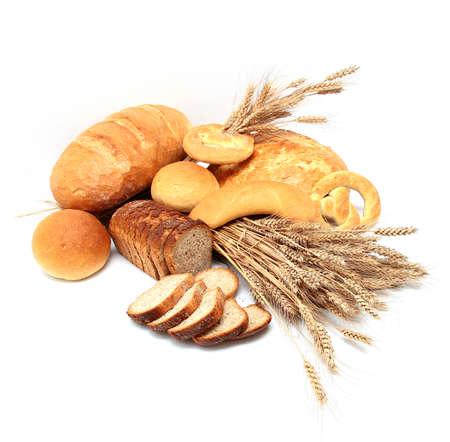Bread, loaf, cake, baton, crescent on white  Archivio Fotografico