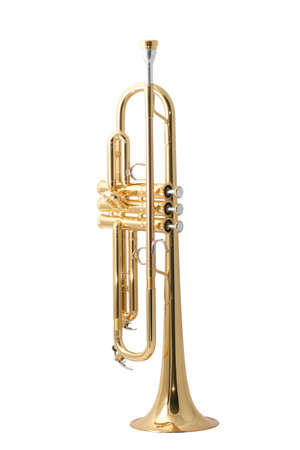 woodwind: Gold lacquer trumpet with mouthpiece isolated on white
