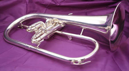 flugelhorn: Silver fluegelhorn with mouthpiece on a violet fabric