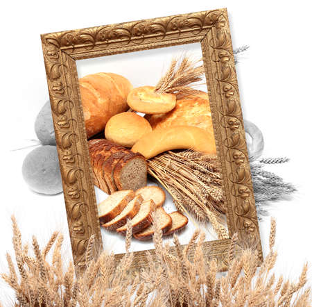 framed picture: bread and baton on white background with cereals framed in an original golden picture frame Stock Photo