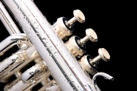 Details of a wet fluegelhorn on black with water drops on it