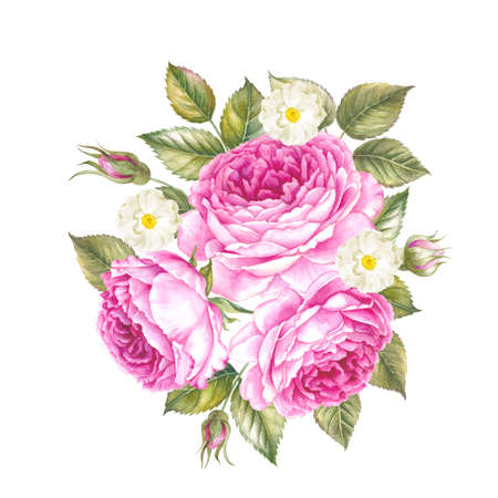 Floral garland illustration of roses. Bouquet of Rose flowers. Vintage watercolor botanical illustration. Red rose bouquet isolated on white background. Stock Photo