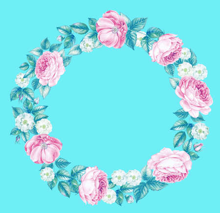 Illustration of red rose frame in the shape of circle. Retro round frame from roses, painted in watercolor style. Isolated over blue background.