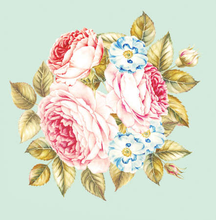 Flowers and leaves, watercolor illustration. Rose bouquet design.