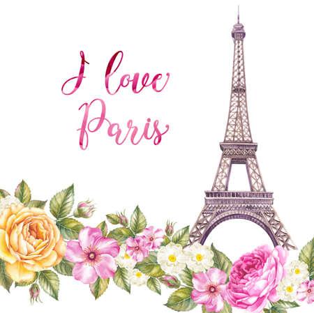 에펠 탑 봄 꽃과 흰색 배경 위에 격리됩니다. 메모리 카드와 기호 - 나는 파리를 좋아한다. 스톡 콘텐츠