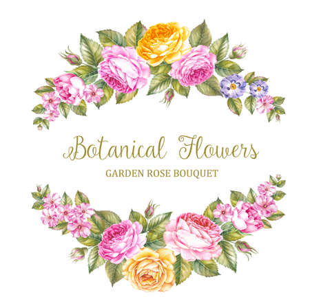 beauty of nature: The Botanical Flowers handmade text over floral garland Stock Photo