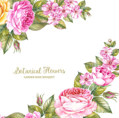 The Botanical Flowers handmade text over floral garland Stock Photo