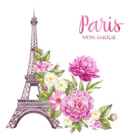 春の花とエッフェル塔は、白い背景の上に分離されます。メモリー カードとサイン - パリが大好きです。 写真素材