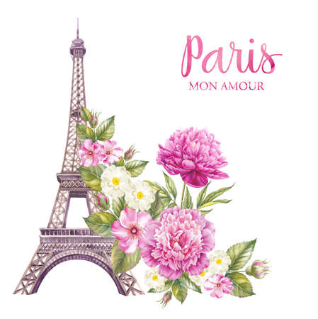 france painted: Eiffel tower with spring flowers are isolated over the white background. Memory card and sign - I love Paris.