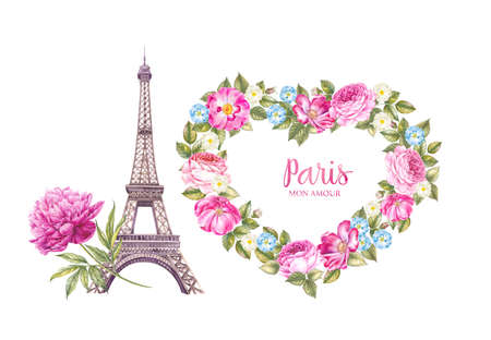 The Eiffel Tower and the heart of flowers. Watercolor botanical illustration.