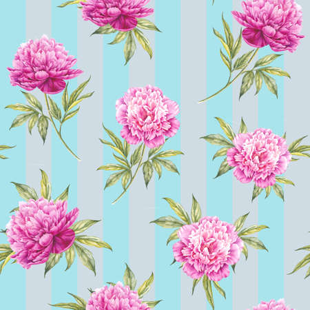 Seamless floral pattern with peonies. Watercolor illustration. Stock Photo