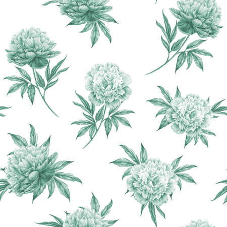 watercolour: Seamless floral pattern with peonies. Watercolor illustration. Stock Photo
