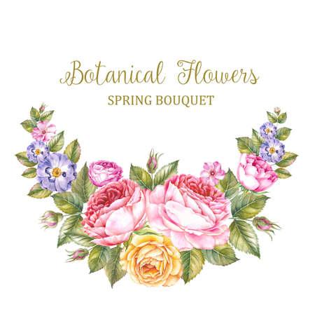 De met de hand gemaakte tekst van Botanische Bloemen over bloemenslinger. Aquarelle bloemen voor uw uitnodigingskaart met tekst plaats. Vintage aquarel botanische illustratie. Rood rozenboeket dat op witte achtergrond wordt geïsoleerd. Stockfoto