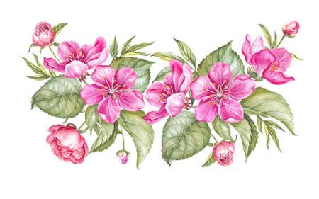 Uitstekende slinger van bloeiende Sakura. Waterverf botanische illustratie van een sakurabloem. Sjabloon voor uitnodigingskaart. Roze bloemen met groene bladeren zijn geïsoleerd op witte achtergrond.