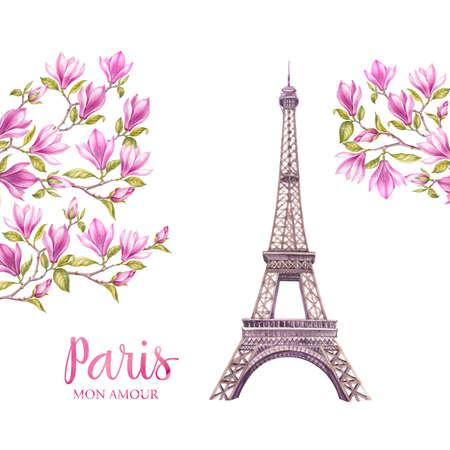De toren van Eiffel met de lentebloemen is geïsoleerd over de witte achtergrond. Geheugenkaart en teken - Parijs. Bloeiende magnolia in Parijs.