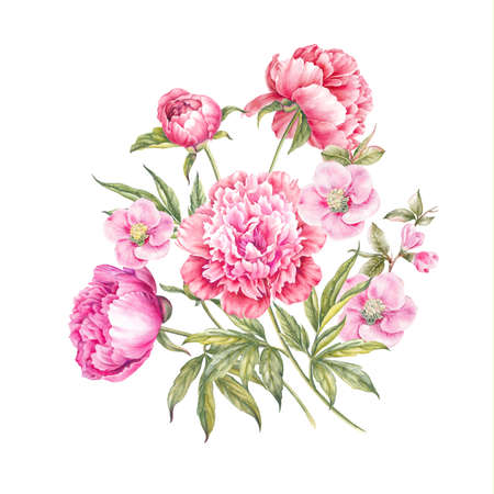 Bouquet of rose flowers. Vintage watercolor botanical illustration. Invitation card for wedding, birthday and other holiday and summer background.