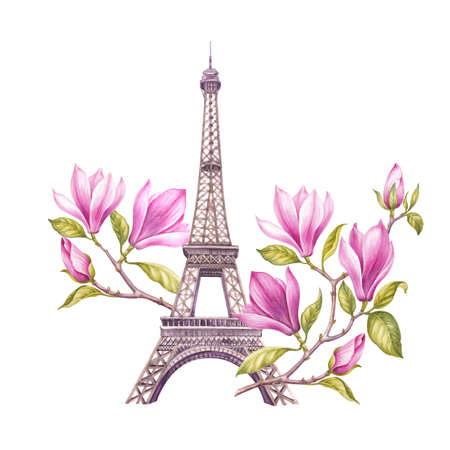 twigs: Eiffel tower with spring flowers are isolated over the white background. Memory card and sign - I love Paris. Blooming magnolia in Paris