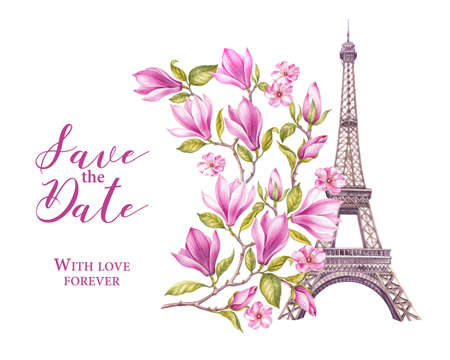 Eiffel tower with spring flowers are isolated over the white background. Memory card and sign - Save the date. Blooming magnolia. Wedding invitation. Watercolor illustration.