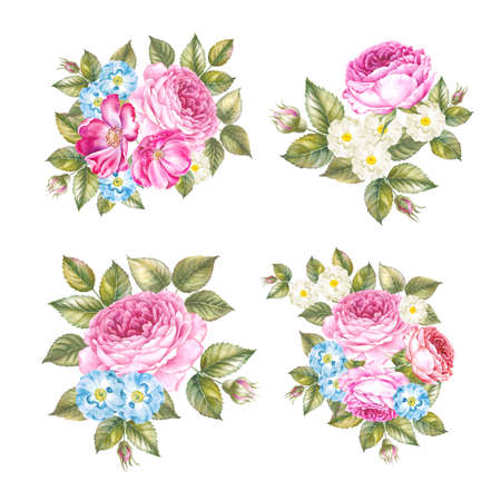 Set of spring flowers wreaths. Collection of four garlands isolated over white backround. Beautiful composition of blooming flowers at holiday bouquet.