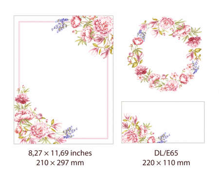 Spring set of flower frame. Beautiful rectangle border with blooming flowers. Watercolor Greeting card elements. Invitation card for wedding on white background. Botanical illustration.