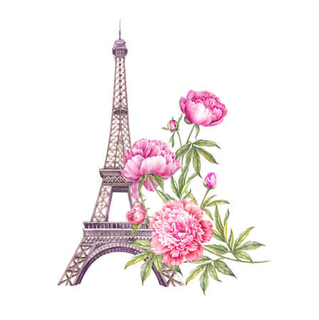 The Paris Tour memory card with Eiffel Tower and spring flowers bouquet. Stock fotó