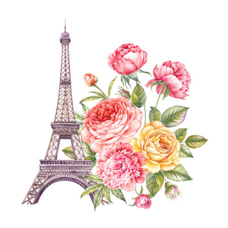 The Paris Tour memory card with Eiffel Tower and spring flowers bouquet. Banque d'images