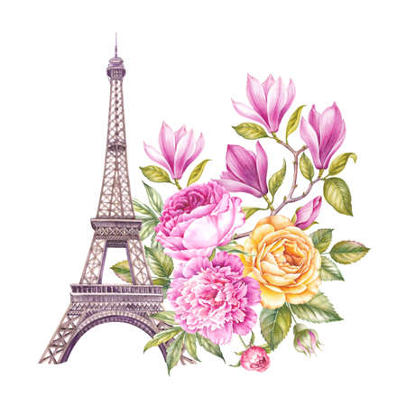 The Paris Tour memory card with Eiffel Tower and spring flowers bouquet. Stock Photo