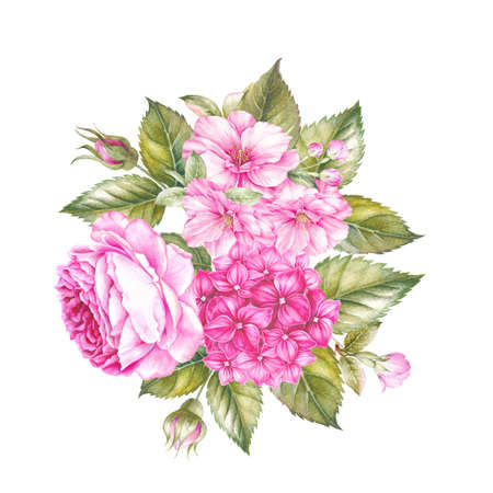 Blooming rose flower watercolor illustration. Cute pink roses in vintage style for design. Handmade garland composition. Watercolour botanical illustration.