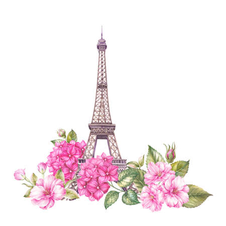 Summer paris illustration. Watercolor botanical illustration of a blossom flowers. Eiffel tower with floral composition for your invitation card. Watercolor painting. Stock Photo