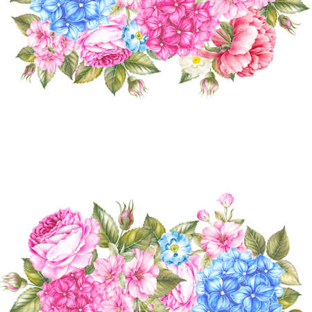 Botanical card template with floral border and text place. Watercolour botanical illustration.