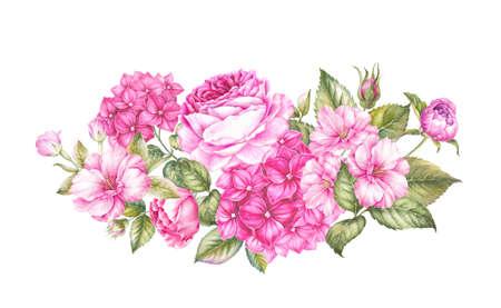 Vintage slinger van bloeiende bloemen. Sjabloon voor uitnodigingskaart. Aquarel botanische illustratie. Stockfoto