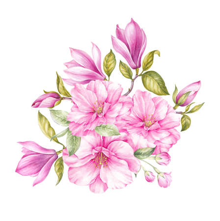 Elegant card with spring flowers of magnolia for your invitation. Bouquet of blooming flowers. Vintage watercolor botanical illustration. Invitation card for wedding, birthday and other holidays. Stock Photo