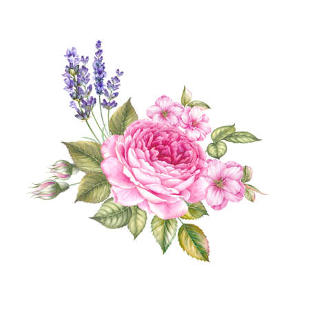 Vintage garland of blooming roses. Watercolor botanical illustration of a lavender. Template for invitation card. Red and pink flowers with green leaves are isolated over white background.