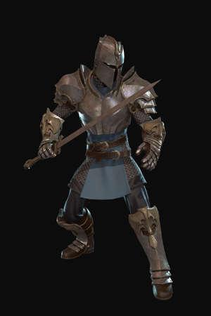 Fantasy Charakter Ritter 3D-Render auf schwarzem Hintergrund