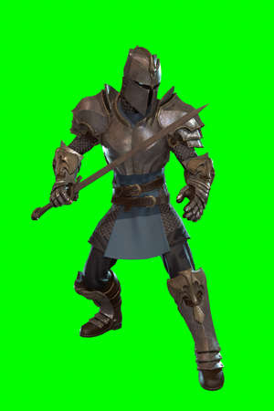 Fantasy character knight 3d render on green background