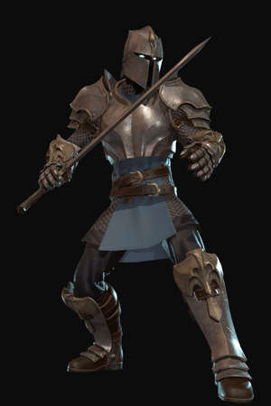 Fantasy character knight 3d render on black background