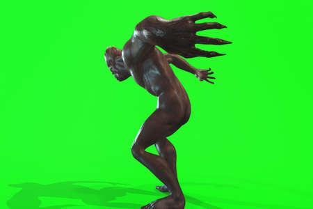 Fantasy huge character asymmetric Monster - 3d render on green background Stock Photo